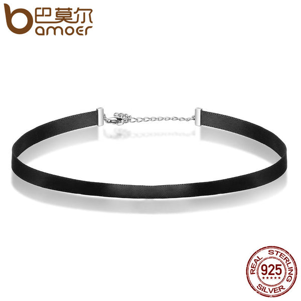 Sterling Silver & Black Braid Choker Necklace For Women