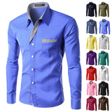 Formal Business Mens Shirts Casual Slim Long Sleeve Shirts