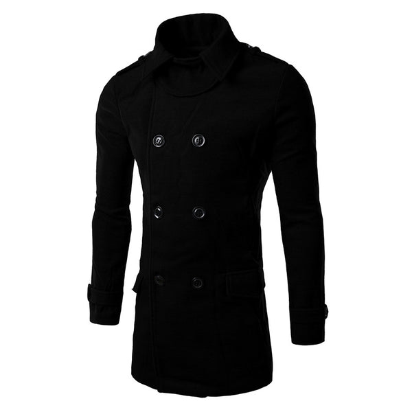 Men's Wool Trench Double Breasted Coat 3 Colors