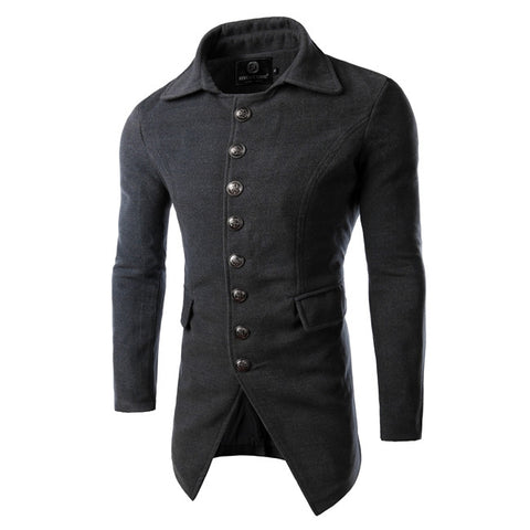 Men's Wool Trench Coat Single Breasted 5 Colors