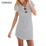 Striped O-Neck Mini Sundress Loose and Above the Knee