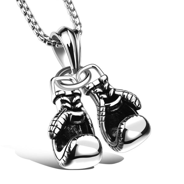Men's Stainless Steel Necklace Boxing Gloves Pendant 3 Colors