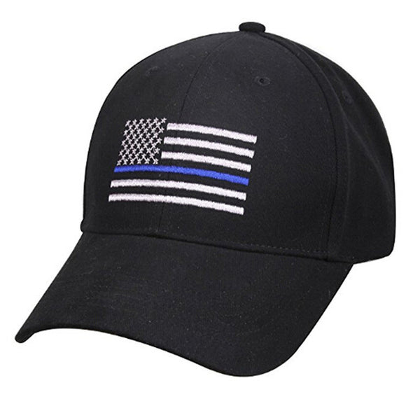 Thin Blue Line American Flag Embroidered Baseball Cap