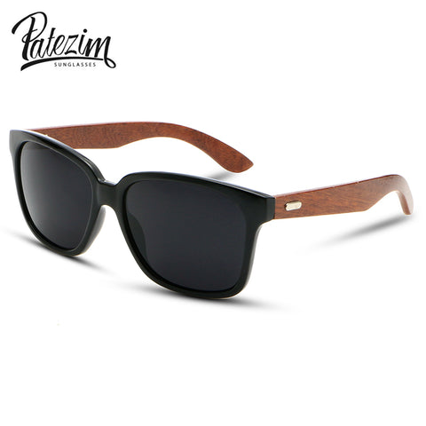 Unisex Wooden Frame Sunglasses with Reinforced Metal Hinges
