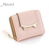 Cat Anime Leather Trifold Slim Mini Wallet for Women in Different Colors