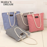Striped Shopping Handbag with Zipper in Different Colors