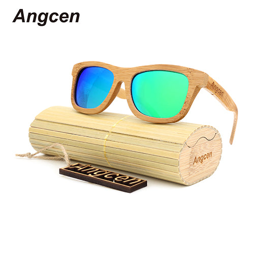 Unisex Bamboo Sunglasses with Polarized Lenses in Bamboo Case