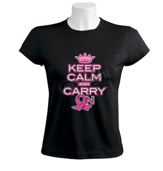 Keep Calm and Carry On Breast Cancer Awareness T-Shirt for Women