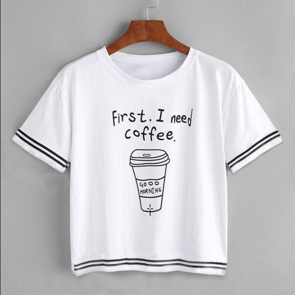 First I Need Coffee Women's Loose Pullover T-Shirt