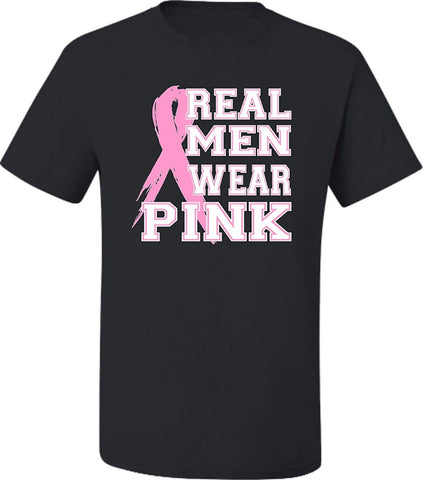 Real Men Wear Pink Breast Cancer Awareness O-Neck Short Sleeve T-Shirts