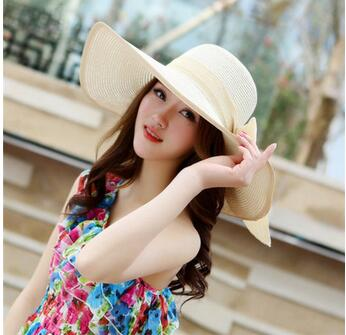 Vintage Straw Hat with Ribbon for Women