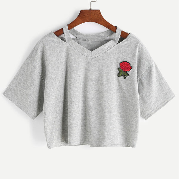Embroidered Rose Women T-Shirts