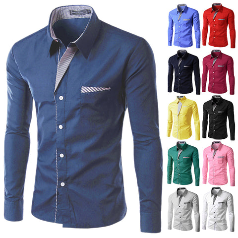 Men's Long Sleeved Shirt Slim Fit M-4XL
