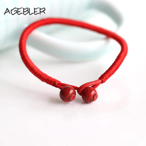 2Pcs/lot Women Lucky Bracelets Red String with Ceramic Beads