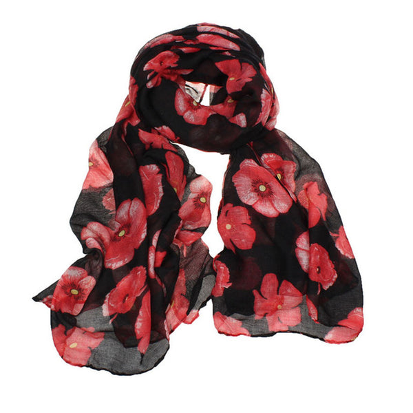 Red Poppy Scarf Print Long Scarves Flower Beach Wrap Ladies Stole Shawl