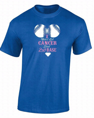 Don'T Let Cancer Steal 2nd Base Breast Cancer Awareness T-Shirts for Men