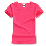 Short Sleeve O-Neck Cotton Tee tops for Women.