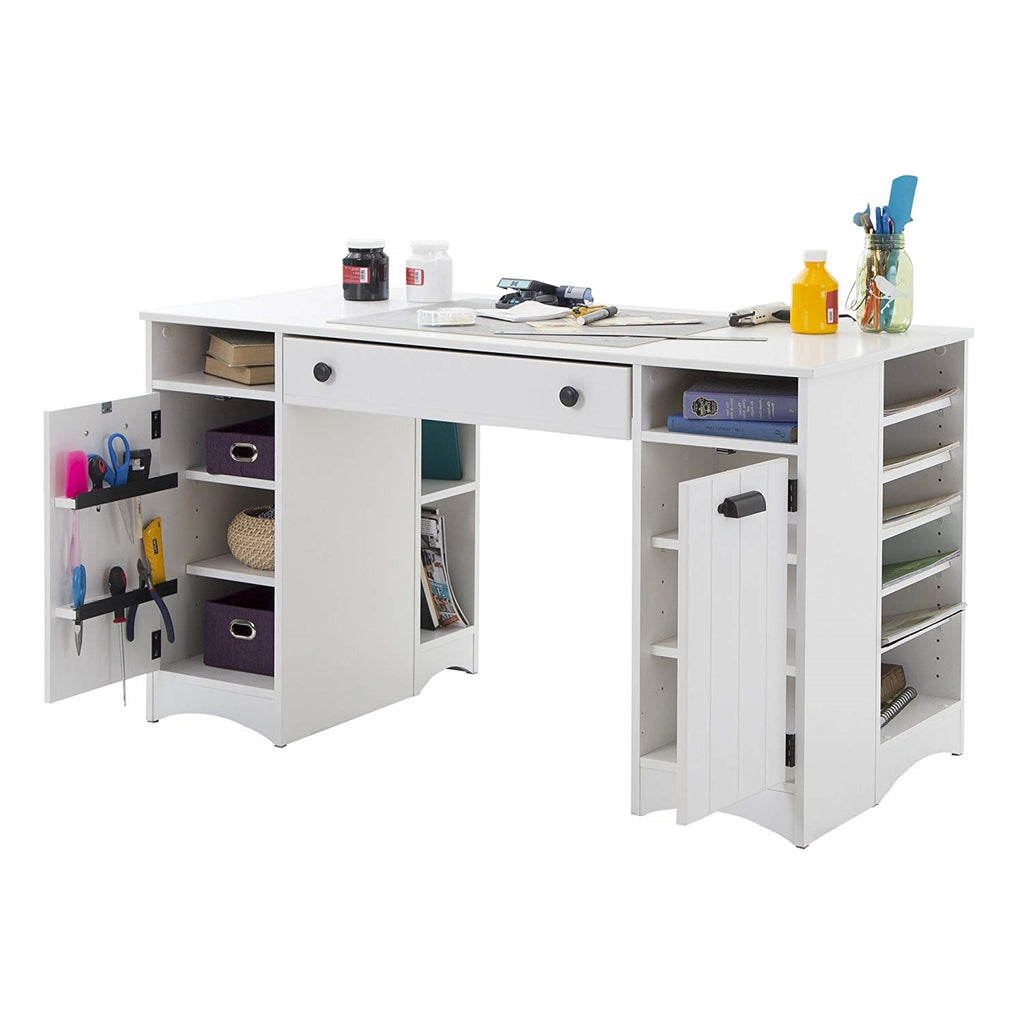 The best desk for a craft room with shelves and organization for arts and projects
