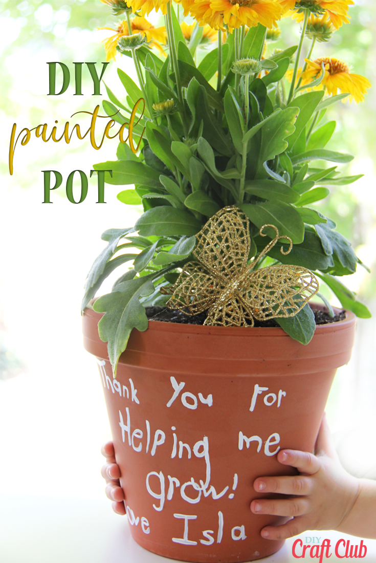 DIY hand painted terra cotta pots