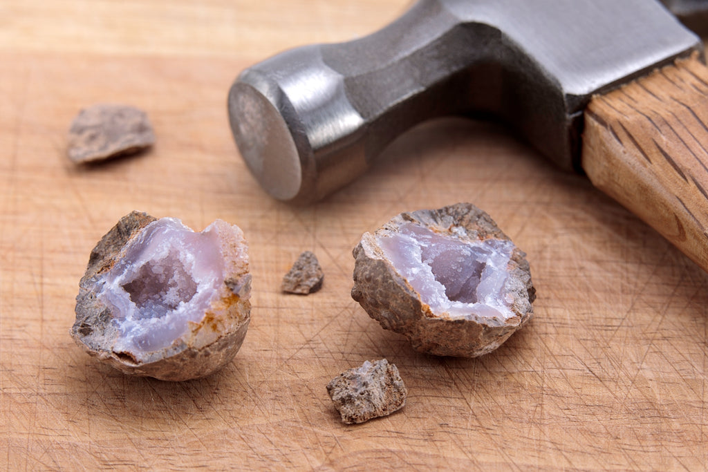 Hammer time! Use protective equipment when smashing stones and gems for geode resin art