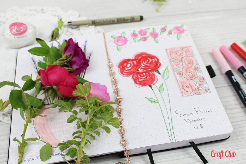 Rose Doodle Ideas | Simple Floral Doodles Ep  8 - DIY Craft Club