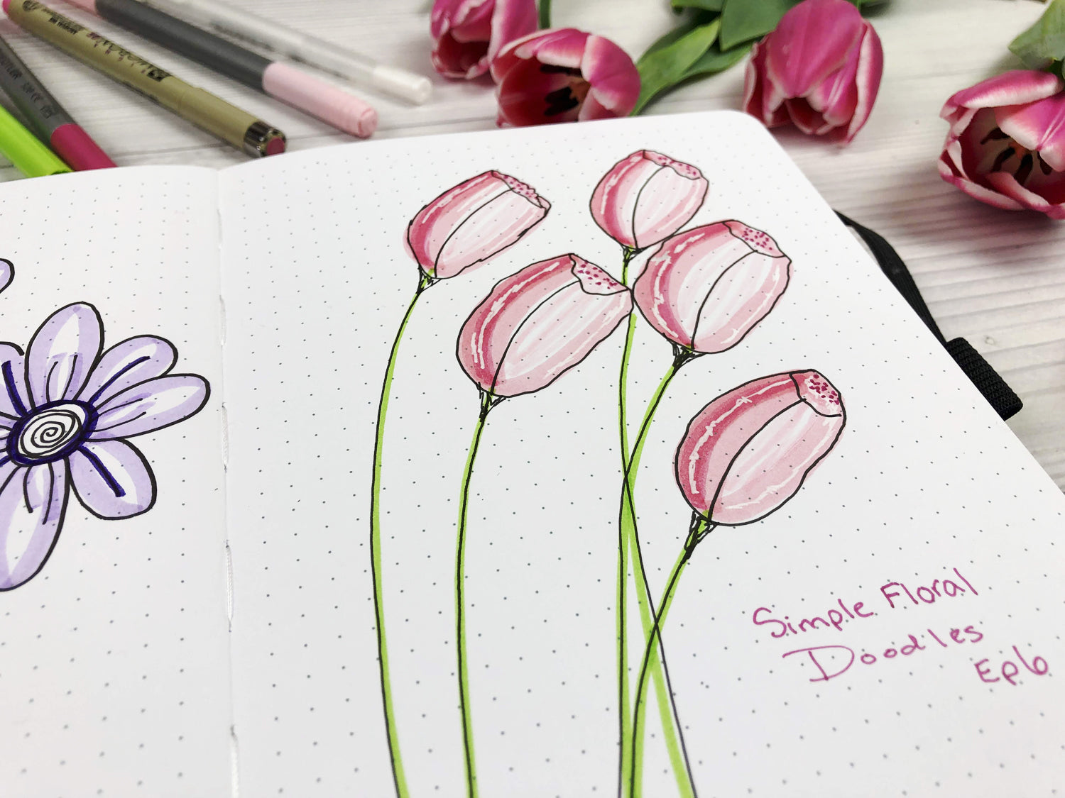 how to draw simple flowers tulips