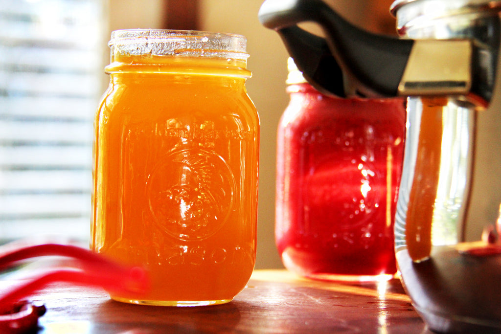 Canned peach jam