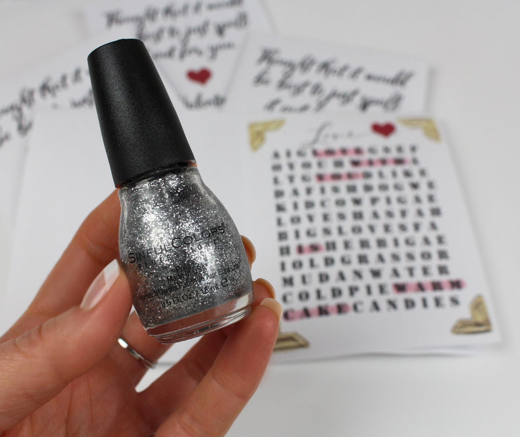 Use nail polish to add sparkle to handmade Valentine's Day free printable cards