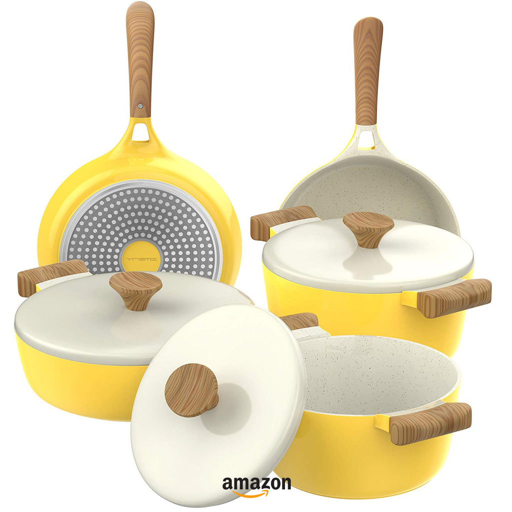 yellow kitchen decor ideas ceramic cookware set