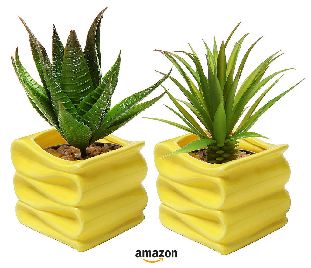yellow kitchen decor ideas set of two planters