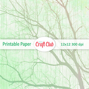 green tree scrapbooking paper