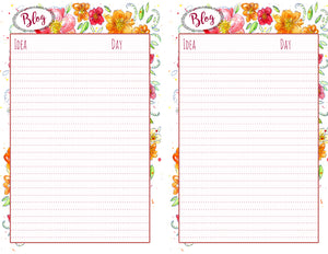 Printable Blogging Planner Sheet | Printable Paper