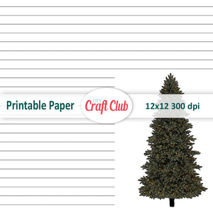 Printable Christmas lined digital paper