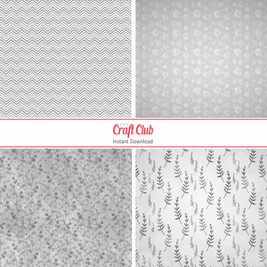 Printable Scrapbooking Paper | White & Grey Shapes