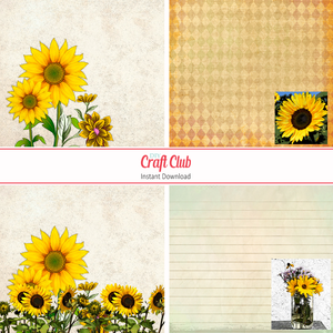 sunflower digital papers