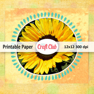 sunflower digital paper