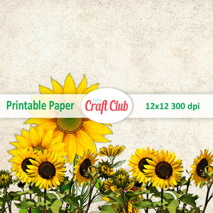 printable scrapbooking paper sunflowers