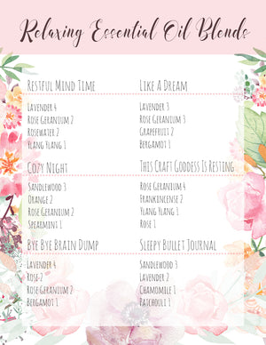 Relaxing Essential Oils Blends For The Bath | Free Printable