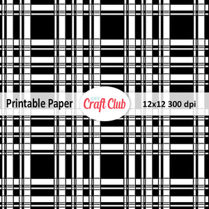 black and white plaid digital paper