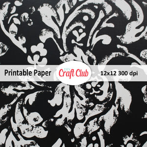 Fancy Scrapbooking Paper To Print | Black & Grey Floral