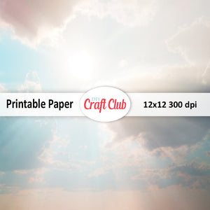 sky printable paper with sunbeams