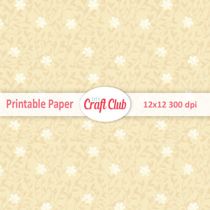 yellow floral scrapbooking paper to print