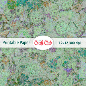 green floral scrapbooking paper