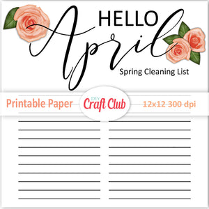 lined paper to print spring cleaning list April