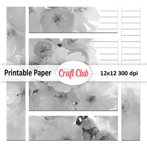 black and white floral paper