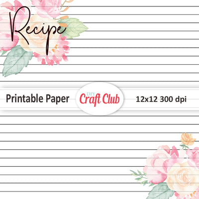 printable recipe paper lined papers diy craft club