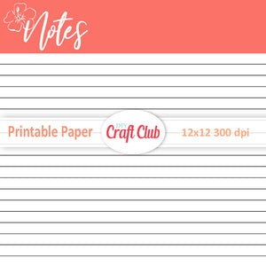 living coral lined paper to print