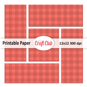 plaid coral paper to print