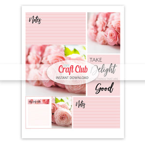 planner inserts pink roses