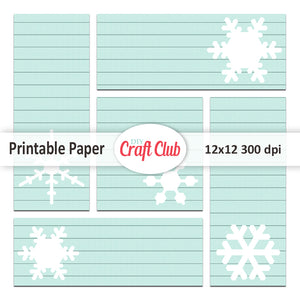 Printable Christmas tags lined snowflake